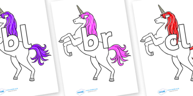 Initial Letter Blends on Unicorn - Initial Letters, initial letter, letter blend, letter blends, consonant, consonants, digraph, trigraph, literacy, alphabet, letters, foundation stage literacy