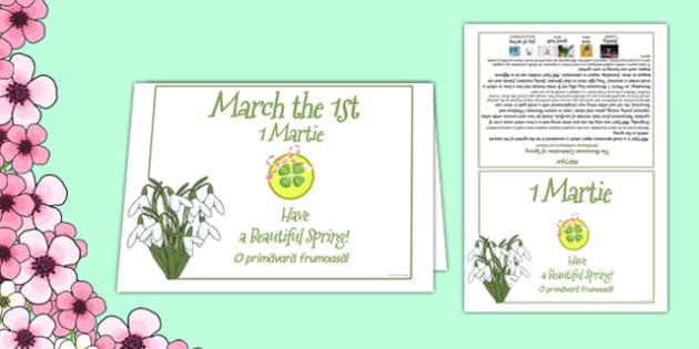 1st of March Romanian Celebration of Spring Card Romanian Translation - Romanian, bilingual, March, spring, celebration, card