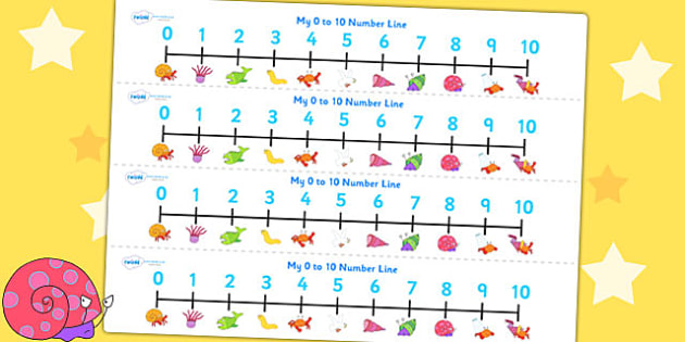 Number Lines 0-10 to Support Teaching on Sharing a Shell - count, counting, counting aid