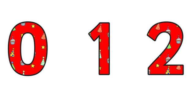 Birthday Themed A4 Display Numbers 4 - Birthday, Birthday Themed, Birthday Display Numbers, A4 Display Numbers, Display Numbers 4