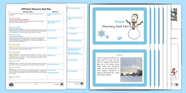 EYFS Snow Discovery Sack Plan and Resource Pack - one snowy night, discovery