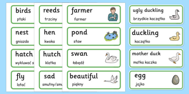 The Ugly Duckling Word Cards Polish Translation - polish, ugly duckling, word cards, traditional tale