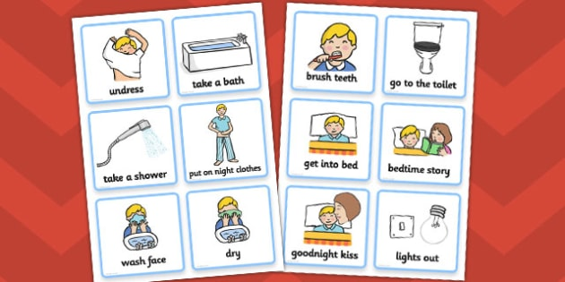 Daily Routine Cards (Getting Ready For Bed - Boys) - getting ready for bed, bed, bedtime, Visual Timetable, SEN, Daily Timetable, School Day, Daily Activities, Daily Routine KS1, good night, bedtime story, brush teeth, boys
