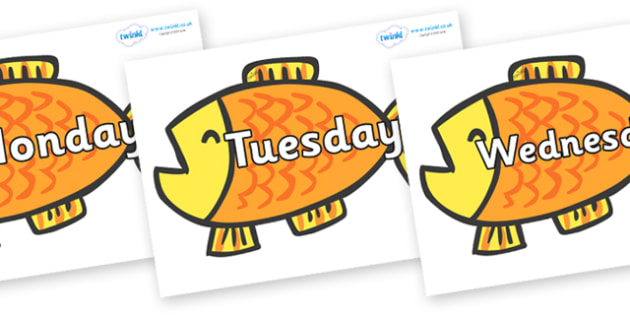 Days of the Week on Goldfish to Support Teaching on Brown Bear, Brown Bear - Days of the Week, Weeks poster, week, display, poster, frieze, Days, Day, Monday, Tuesday, Wednesday, Thursday, Friday, Saturday, Sunday