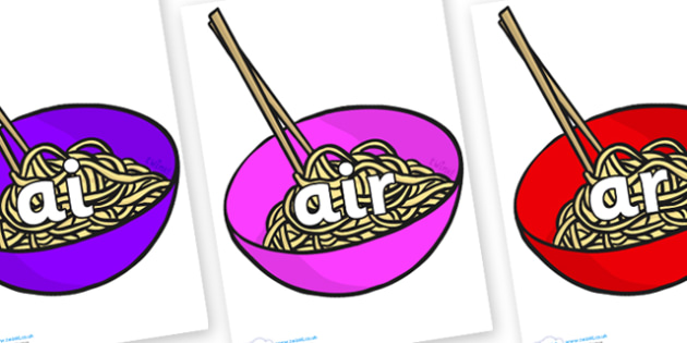 Phase 3 Phonemes on Chinese Noodles - Phonemes, phoneme, Phase 3, Phase three, Foundation, Literacy, Letters and Sounds, DfES, display