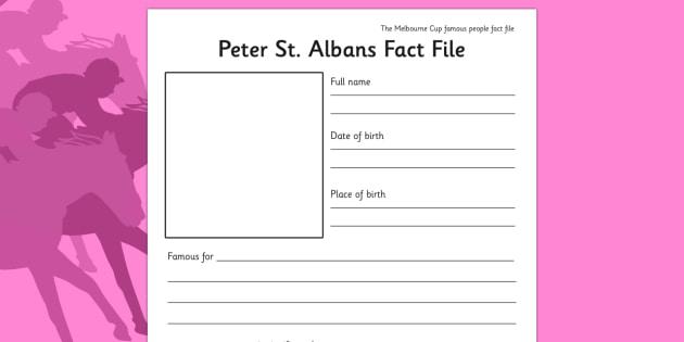 Melbourne Cup Peter St Albans Factfile Worksheet - australia, melbourne cup, fact file