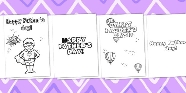 Fathers Day Card Templates Colouring - dad, father, motor skills