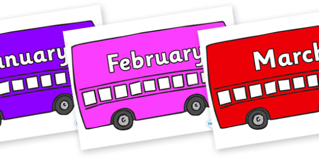 Months of the Year on Buses - Months of the Year, Months poster, Months display, display, poster, frieze, Months, month, January, February, March, April, May, June, July, August, September