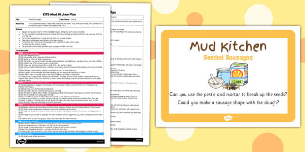 Seeded Sausages EYFS Mud Kitchen Plan and Prompt Card Pack - mud kitchen