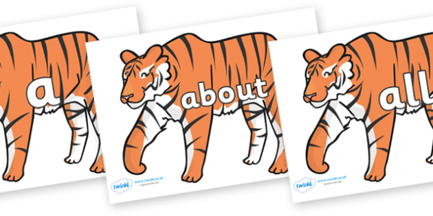 100 High Frequency Words on Tigers - High frequency words, hfw, DfES Letters and Sounds, Letters and Sounds, display words