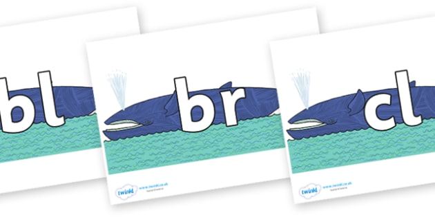 Initial Letter Blends on Whale to Support Teaching on Sharing a Shell - Initial Letters, initial letter, letter blend, letter blends, consonant, consonants, digraph, trigraph, literacy, alphabet, letters, foundation stage literacy