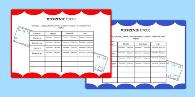 Karty z wyzwaniami Pomiar i oblicznie pola po polsku - liczenie - polish, measure, math