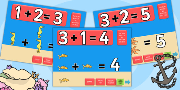 Under the Sea Themed Addition PowerPoint - under the sea, add