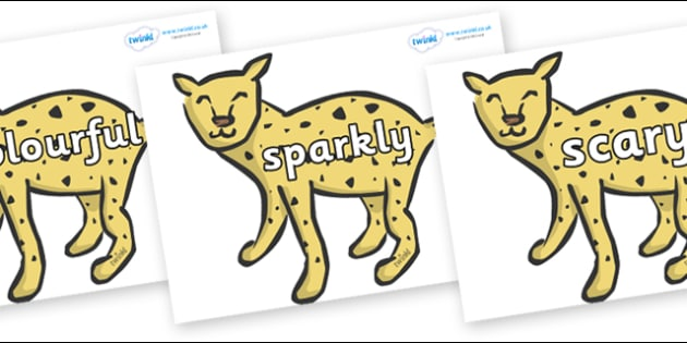 Wow Words on Cheetahs - Wow words, adjectives, VCOP, describing, Wow, display, poster, wow display, tasty, scary, ugly, beautiful, colourful sharp, bouncy