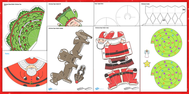Christmas Paper Model Resource Pack - christmas, craft, pack