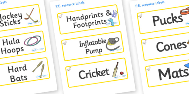 Duck Themed Editable PE Resource Labels - Themed PE label, PE equipment, PE, physical education, PE cupboard, PE, physical development, quoits, cones, bats, balls, Resource Label, Editable Labels, KS1 Labels, Foundation Labels, Foundation Stage Label