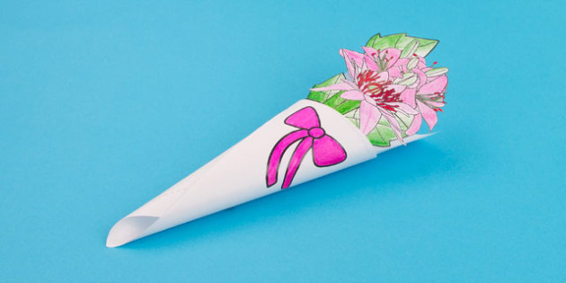Easter Paper Flower Bouquet Colouring Craft Lilies - flowers, christianity, craft
