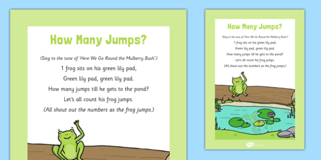 How Many Jumps Frog Rhyme Sheet - how many jumps, frog, rhyme, sheet