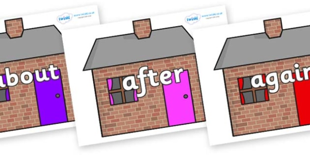 KS1 Keywords on Brick houses - KS1, CLL, Communication language and literacy, Display, Key words, high frequency words, foundation stage literacy, DfES Letters and Sounds, Letters and Sounds, spelling