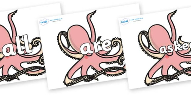 Tricky Words on Octopuses - Tricky words, DfES Letters and Sounds, Letters and sounds, display, words