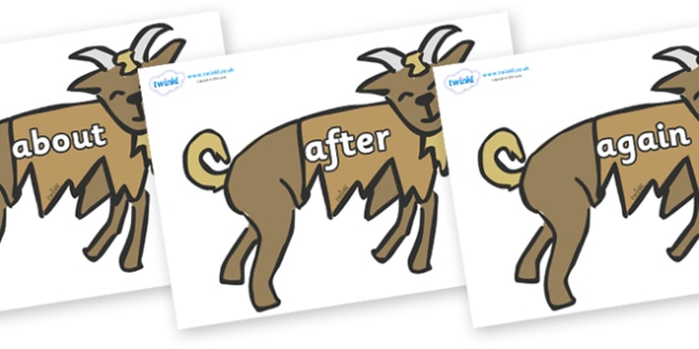 KS1 Keywords on Little Billy Goat Gruff - KS1, CLL, Communication language and literacy, Display, Key words, high frequency words, foundation stage literacy, DfES Letters and Sounds, Letters and Sounds, spelling