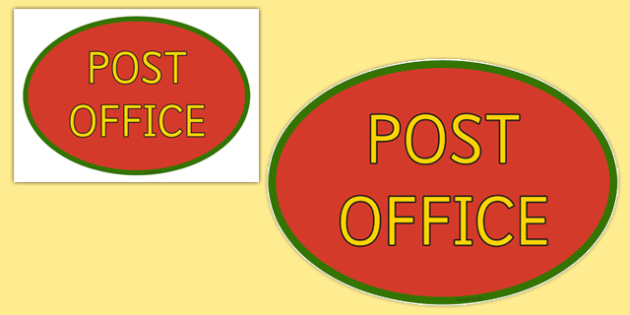 Post Office Sign - Post Office display, banner, poster, post office, role play, letters, stamps, stamp, mail, post, postman, delivery, passport, car tax, mail bag, envelope