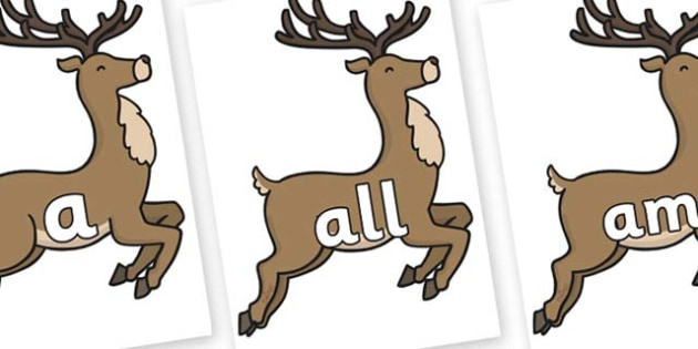 Foundation Stage 2 Keywords on Reindeer - FS2, CLL, keywords, Communication language and literacy,  Display, Key words, high frequency words, foundation stage literacy, DfES Letters and Sounds, Letters and Sounds, spelling