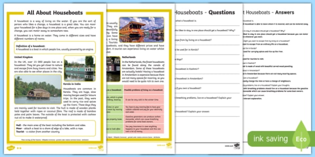 All About Houseboats Differentiated Reading Comprehension Activity