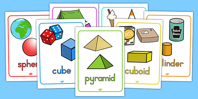 3D Objects Posters With Everyday Examples - 3D, shapes, 3D shapes
