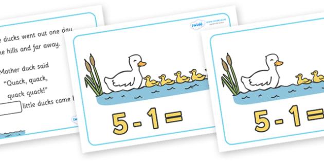 Five Little Ducks Number Sentence Frames - Five Little Ducks, nursery rhyme, rhyme,sequencing,  rhyming, numeracy, numbers, number sentence frame, frames, sentence, nursery rhyme story, nursery rhymes, counting rhymes, taking away, subtraction, Five