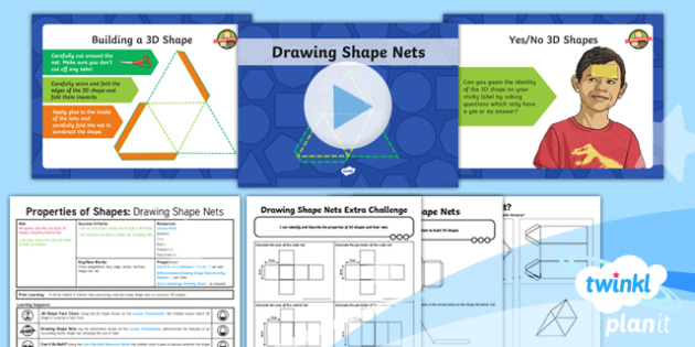 PlanIt Y6 Properties of Shape Lesson Pack - Properties of Shape, 3D shapes, shape nets, faces, edges, vertices