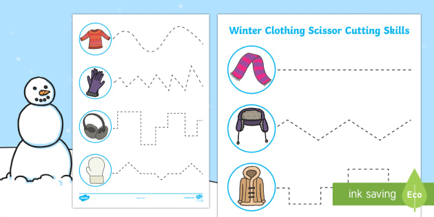 Winter Clothing Cutting Skills Activity Sheet