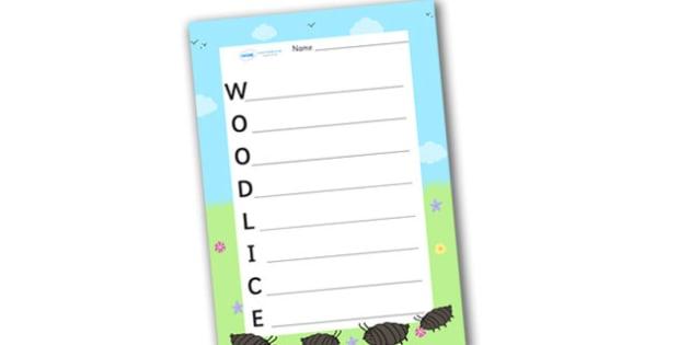Woodlice Acrostic Poem - acrostic poems, acrostic poem, woodlice, woodlice poem, woodlice acrostic poem template, woodlice acrostic poem writing frame, minibeast acrostic poem template, acrostic, poem, poetry, literacy, writing activity, activity