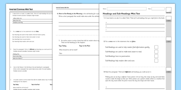 Headings and Sub Headings Test - GPS, non chronological, report, non-fiction, test