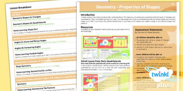 PlanIt Y4 Properties of Shape Unit Overview - PlanIt, Properties of Shapes