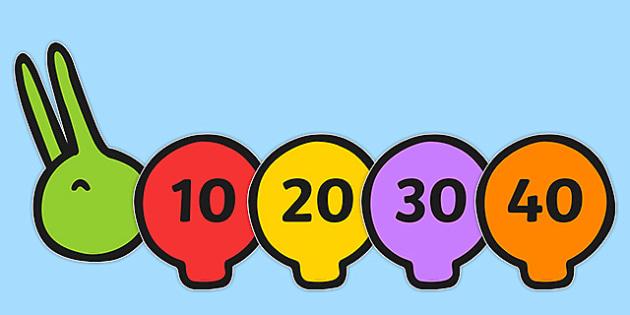 Multiples of 10 on Multicoloured Caterpillars - multiplication