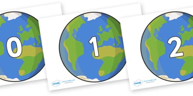 Numbers 0-31 on Planet Earth - 0-31, foundation stage numeracy, Number recognition, Number flashcards, counting, number frieze, Display numbers, number posters