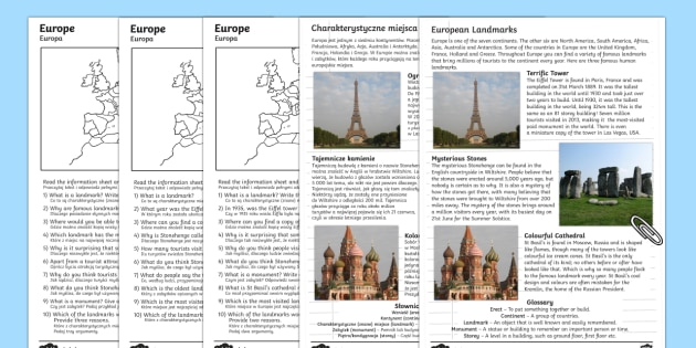 Europe Comprehension Landmarks Activity Sheets English/Polish - Europe Landmarks Reading Comprehension Activity - geography, continent, comprehesion, comprehnsion,