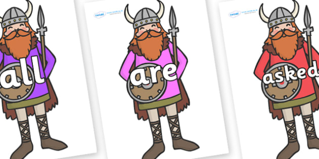 Tricky Words on Vikings - Tricky words, DfES Letters and Sounds, Letters and sounds, display, words