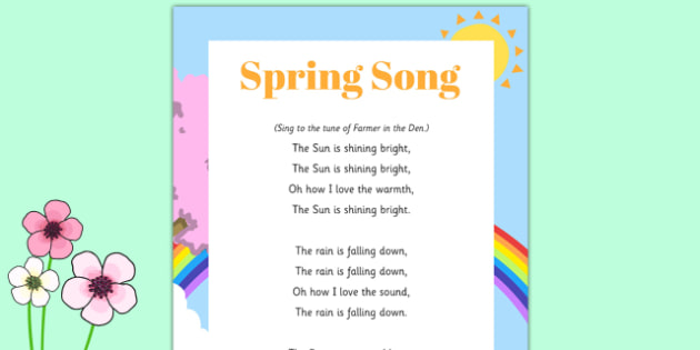 Spring Song - Signs Spring, Daffodils, Sun, Flowers, Butterflies, Bees, Rain, Seasons, Weather