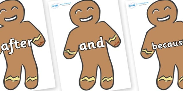 Connectives on Gingerbread Men - Connectives, VCOP, connective resources, connectives display words, connective displays