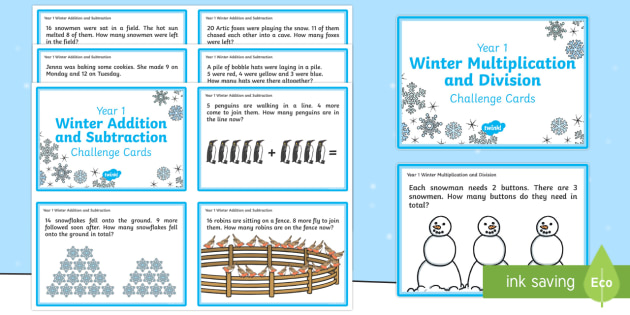 Year 1 Winter Themed Maths Challenge Cards - Winter, Christmas, challenge, maths, addition, add, plus, sum, total, altogether, equals, subtract,
