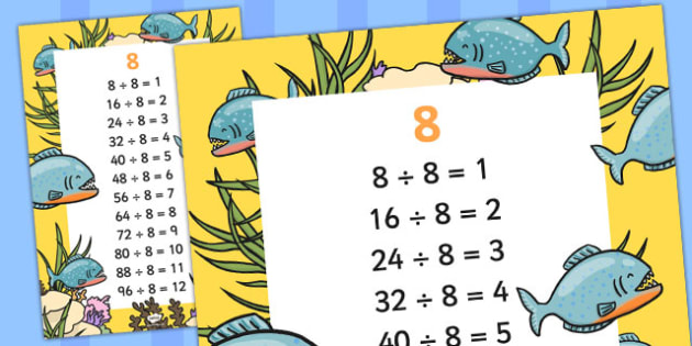 8 Times Table Division Facts Display poster - posters, displays