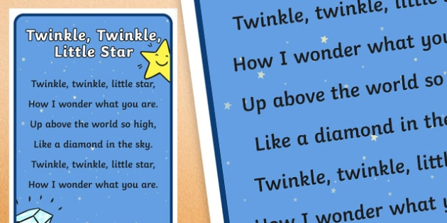 Twinkle Twinkle Little Star Nursery Rhyme Poster - rhyme, display