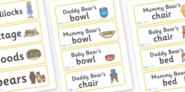 Three Bears Cottage Word Cards - Goldilocks, traditional tales, word cards, display banner, tale, fairy tale, three bears, porridge, cottage, beds, flashcards