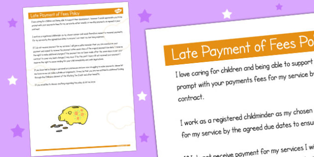 Late Payment of Fees Policy - childminder, child minder, rules