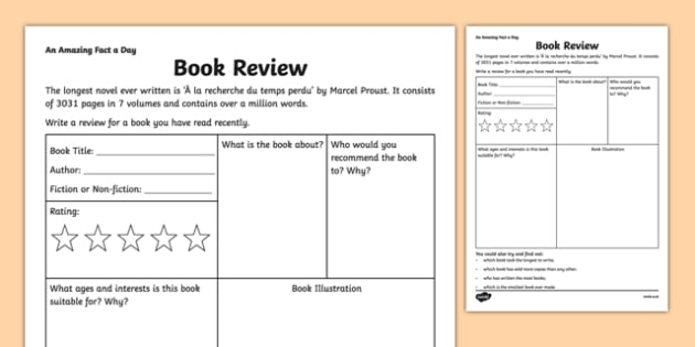Book Review Activity Sheet - amazing fact a day, activity sheet, activity, activities, book review, worksheet