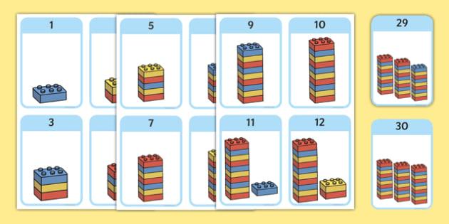 Build a Tower Numbers 1-30 - build a tower, numbers, build, tower, lego, building bricks, 1-30, numbers, maths, display