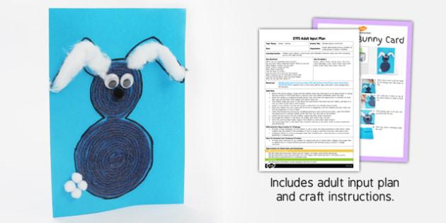 Woollen Bunny Card Craft EYFS Adult Input Plan And Craft Pack