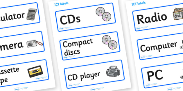 ICT Resource Labels - ICT Resource Labels, ICT, resource, labels, label, sticker, , information and communications technology, computer, laptop, monitor, keyboard, mouse, pointer, arrows, backspace, enter, control, Caps Lock